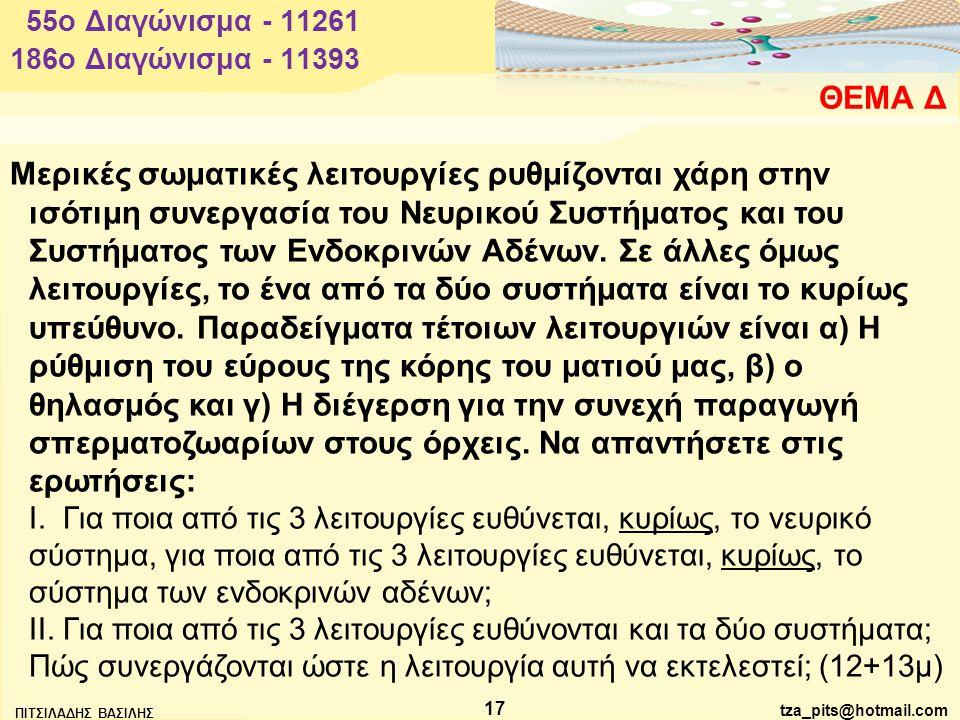 tza_pits@hotmail.com ΠΙΤΣΙΛΑΔΗΣ ΒΑΣΙΛΗΣ 17 ΘΕΜΑ Δ 55o Διαγώνισμα - 11261 Μερικές σωματικές λειτουργίες ρυθμίζονται χάρη στην ισότιμη συνεργασία του Νευρικού Συστήματος και του Συστήματος των Ενδοκρινών Αδένων.