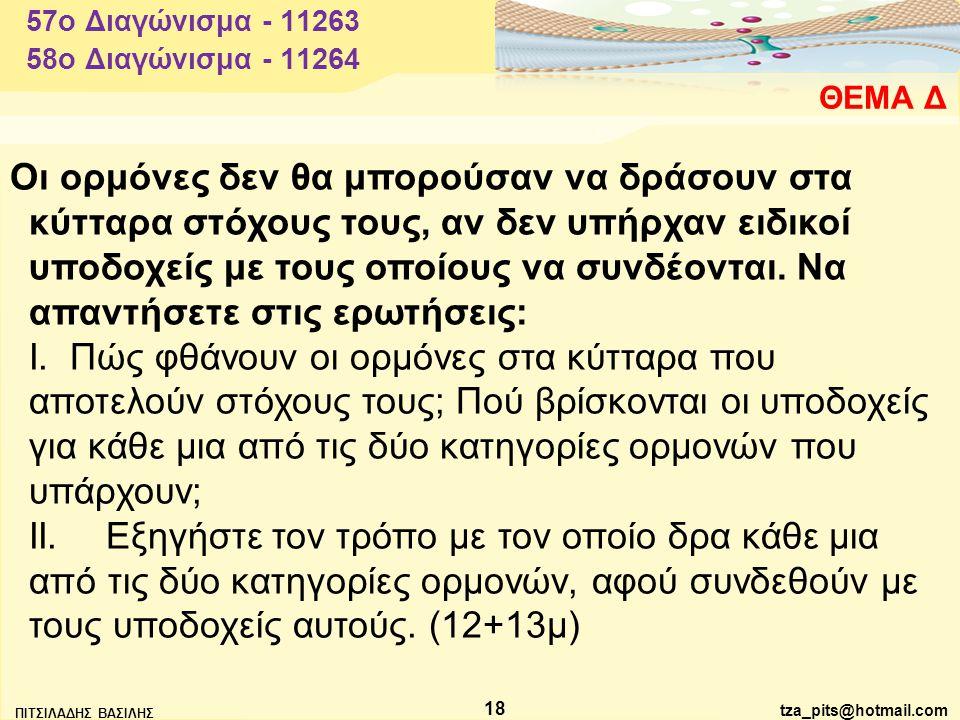 tza_pits@hotmail.com ΠΙΤΣΙΛΑΔΗΣ ΒΑΣΙΛΗΣ 18 ΘΕΜΑ Δ 57o Διαγώνισμα - 11263 Οι ορμόνες δεν θα μπορούσαν να δράσουν στα κύτταρα στόχους τους, αν δεν υπήρχαν ειδικοί υποδοχείς με τους οποίους να συνδέονται.