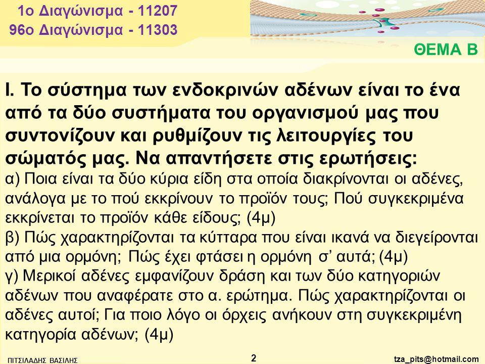 ΠΙΤΣΙΛΑΔΗΣ ΒΑΣΙΛΗΣ 2 ΘΕΜΑ Β 96o Διαγώνισμα - 11303 1o Διαγώνισμα - 11207 Ι.