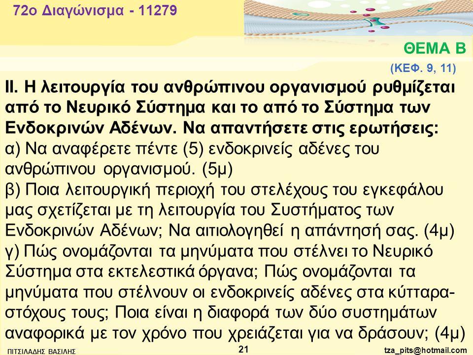 tza_pits@hotmail.com ΠΙΤΣΙΛΑΔΗΣ ΒΑΣΙΛΗΣ 21 ΘΕΜΑ Β 72o Διαγώνισμα - 11279 ΙΙ.