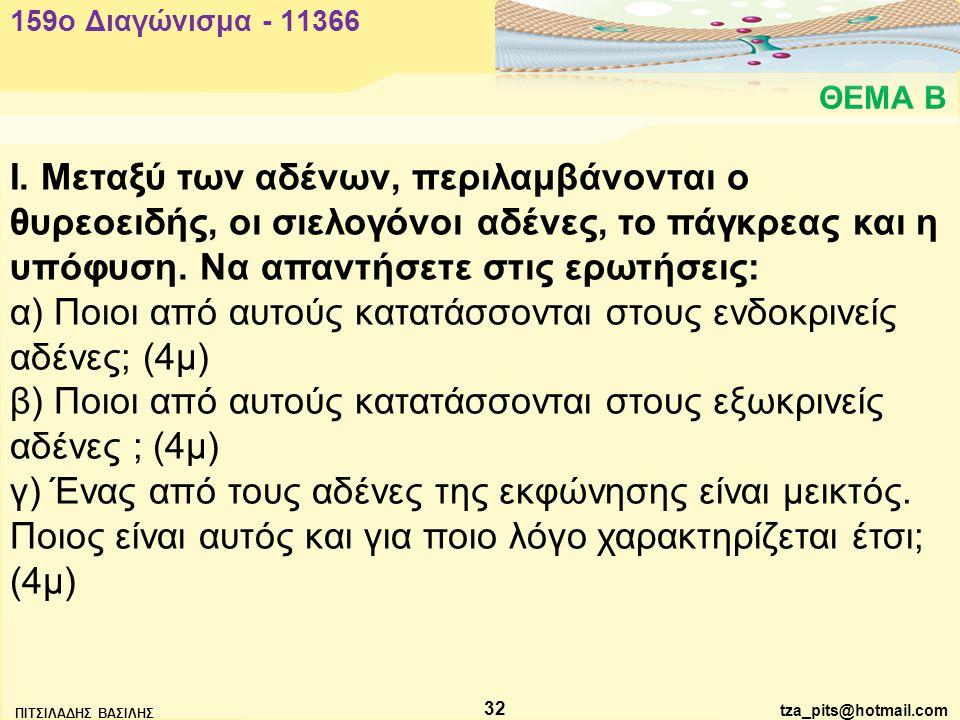 tza_pits@hotmail.com ΠΙΤΣΙΛΑΔΗΣ ΒΑΣΙΛΗΣ 32 ΘΕΜΑ Β 159o Διαγώνισμα - 11366 Ι.