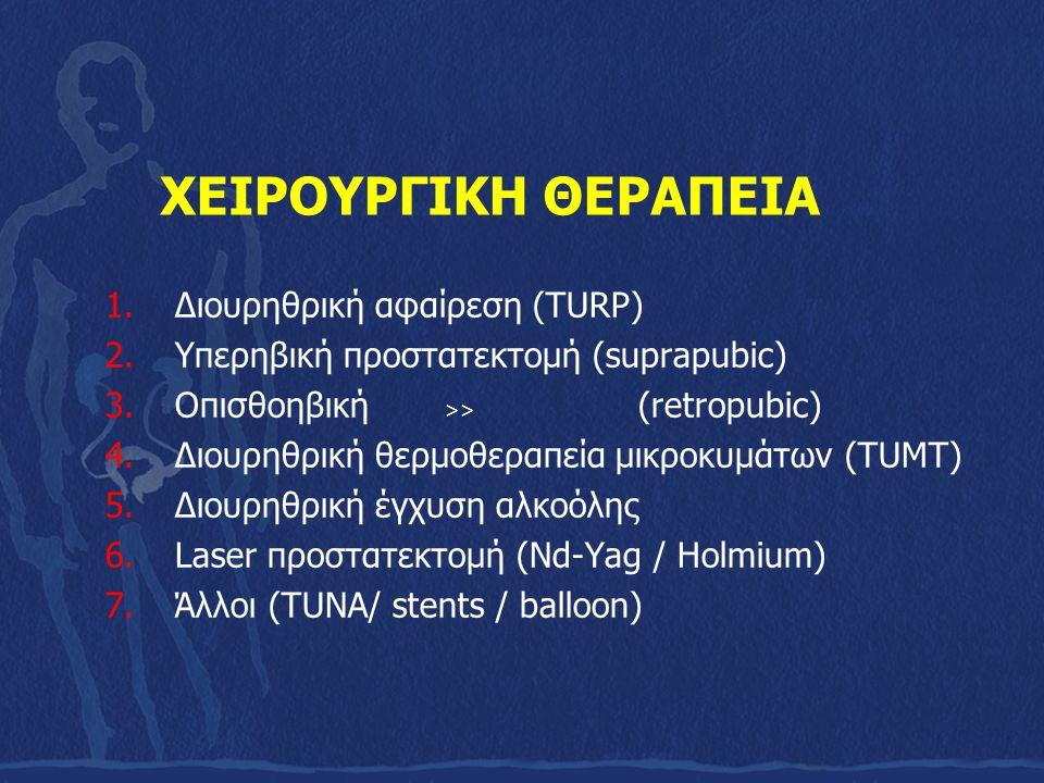 ΧΕΙΡΟΥΡΓΙΚΗ ΘΕΡΑΠΕΙΑ 1.Διουρηθρική αφαίρεση (TURP) 2.Υπερηβική προστατεκτομή (suprapubic) 3.Οπισθοηβική >> (retropubic) 4.Διουρηθρική θερμοθεραπεία μι
