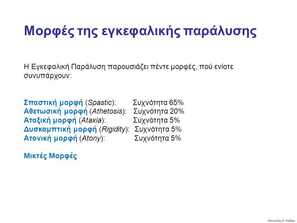 Η Εγκεφαλική Παράλυση παρουσιάζει πέντε μορφές, πού ενίοτε συνυπάρχουν: Σπαστική μορφή (Spastic): Συχνότητα 65% Αθετωσική μορφή (Athetosis): Συχνότητα 20% Aταξική μορφή (Ataxia): Συχνότητα 5% Δυσκαμπτική μορφή (Rigidity): Συχνότητα 5% Ατονική μορφή (Atony): Συχνότητα 5% Μικτές Μορφές Μορφές της εγκεφαλικής παράλυσης