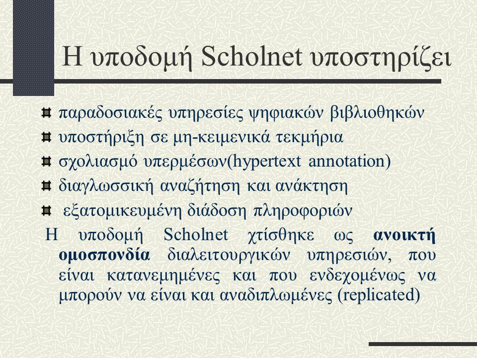 Η υποδομή Scholnet υποστηρίζει παραδοσιακές υπηρεσίες ψηφιακών βιβλιοθηκών υποστήριξη σε μη-κειμενικά τεκμήρια σχολιασμό υπερμέσων(hypertext annotation) διαγλωσσική αναζήτηση και ανάκτηση εξατομικευμένη διάδοση πληροφοριών Η υποδομή Scholnet χτίσθηκε ως ανοικτή ομοσπονδία διαλειτουργικών υπηρεσιών, που είναι κατανεμημένες και που ενδεχομένως να μπορούν να είναι και αναδιπλωμένες (replicated)