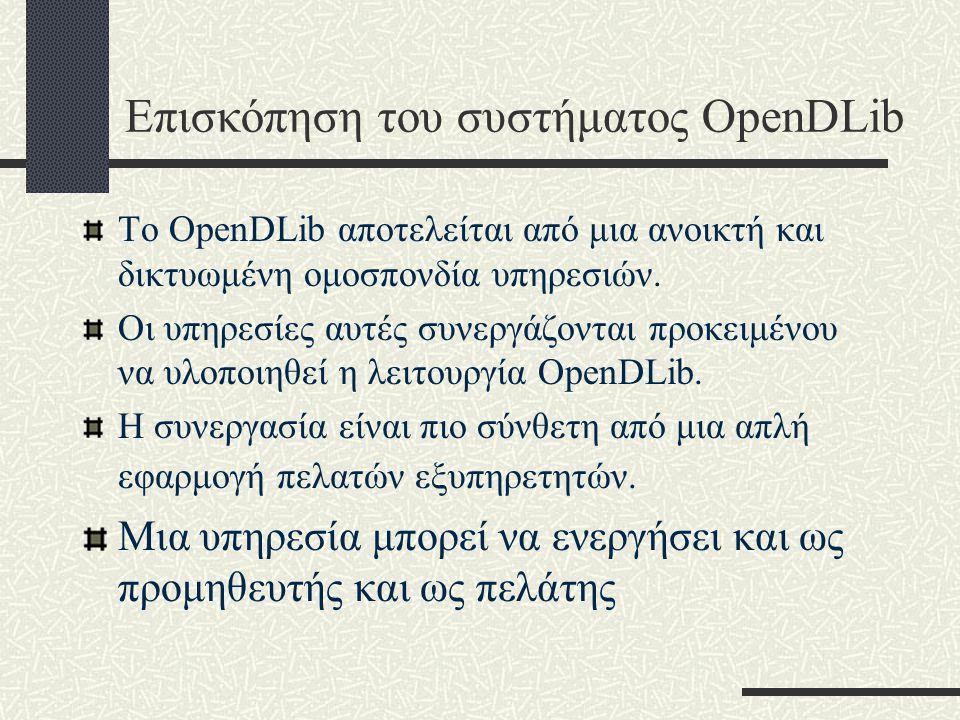 Επισκόπηση του συστήματος OpenDLib Το OpenDLib αποτελείται από μια ανοικτή και δικτυωμένη ομοσπονδία υπηρεσιών.