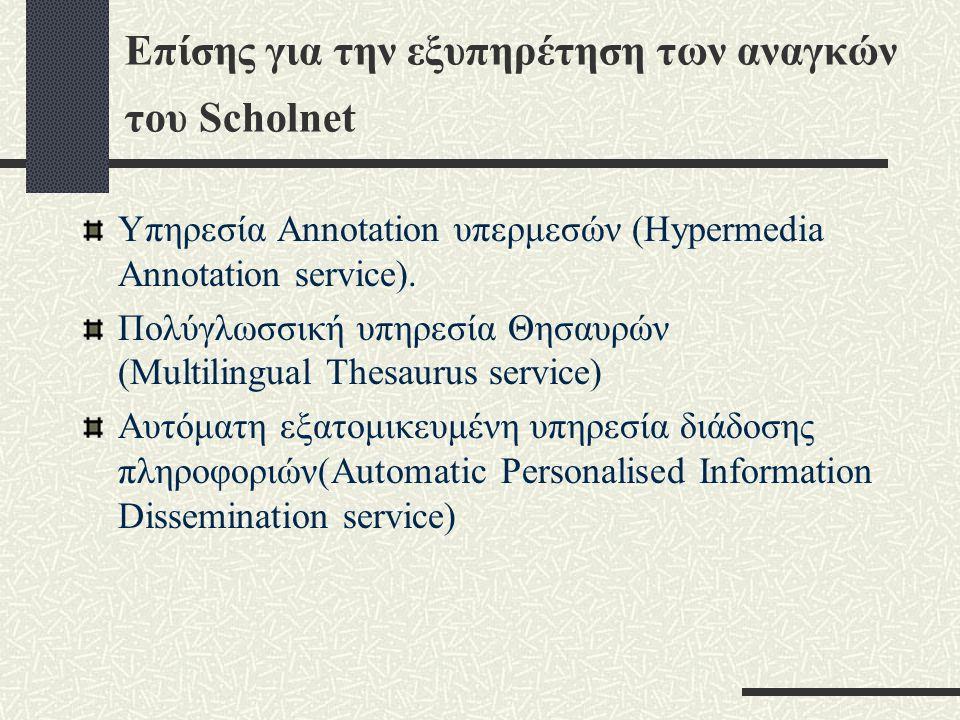 Επίσης για την εξυπηρέτηση των αναγκών του Scholnet Υπηρεσία Annotation υπερμεσών (Hypermedia Annotation service).