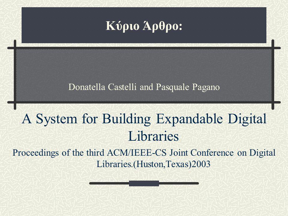 Κύριο Άρθρο: Donatella Castelli and Pasquale Pagano A System for Building Expandable Digital Libraries Proceedings of the third ACM/IEEE-CS Joint Conference on Digital Libraries.(Huston,Texas)2003