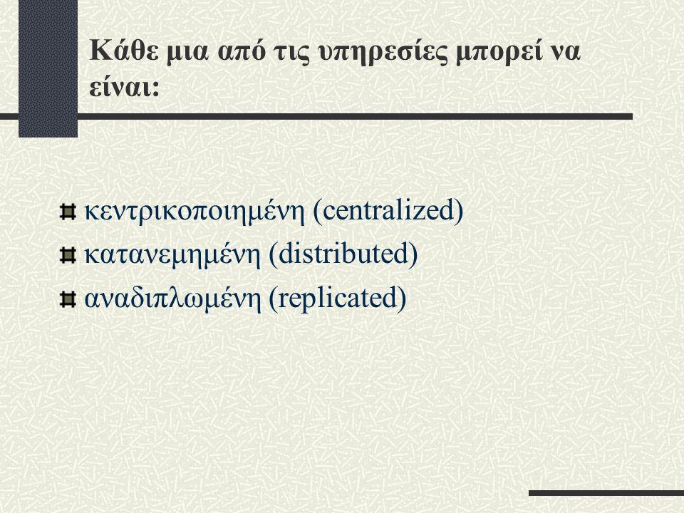 Κάθε μια από τις υπηρεσίες μπορεί να είναι: κεντρικοποιημένη (centralized) κατανεμημένη (distributed) αναδιπλωμένη (replicated)