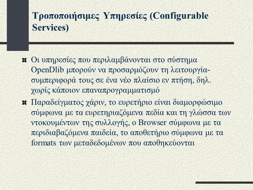 Τροποποιήσιμες Υπηρεσίες (Configurable Services) Οι υπηρεσίες που περιλαμβάνονται στο σύστημα OpenDlib μπορούν να προσαρμόζουν τη λειτουργία- συμπεριφορά τους σε ένα νέο πλαίσιο εν πτήση, δηλ.