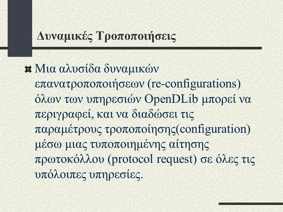 Δυναμικές Τροποποιήσεις Μια αλυσίδα δυναμικών επανατροποποιήσεων (re-configurations) όλων των υπηρεσιών OpenDLib μπορεί να περιγραφεί, και να διαδώσει τις παραμέτρους τροποποίησης(configuration) μέσω μιας τυποποιημένης αίτησης πρωτοκόλλου (protocol request) σε όλες τις υπόλοιπες υπηρεσίες.