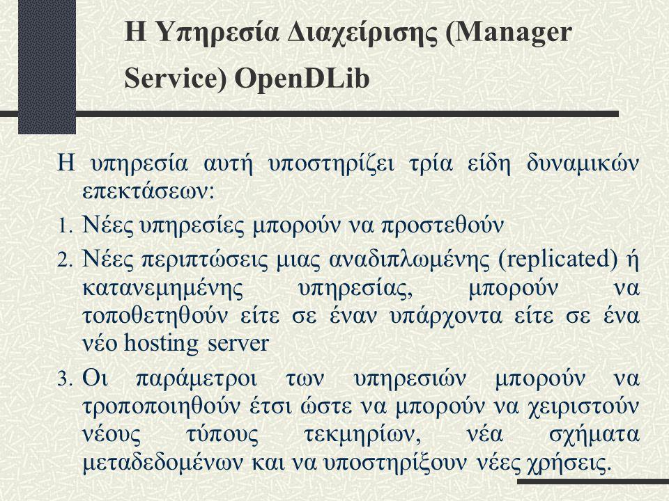 Η Υπηρεσία Διαχείρισης (Manager Service) OpenDLib Η υπηρεσία αυτή υποστηρίζει τρία είδη δυναμικών επεκτάσεων: 1.