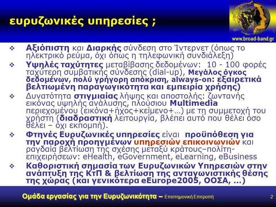 www.broad-band.gr Ομάδα εργασίας για την Ευρυζωνικότητα – Ομάδα εργασίας για την Ευρυζωνικότητα – Επιστημονική Επιτροπή2 ευρυζωνικές υπηρεσίες ;  Αξιόπιστη και Διαρκής σύνδεση στο Ίντερνετ (όπως το ηλεκτρικό ρεύμα, όχι όπως η τηλεφωνική συνδιάλεξη)  Υψηλές ταχύτητες μεταβίβασης δεδομένων: 10 - 100 φορές ταχύτερη συμβατικής σύνδεσης (dial-up), Μεγάλος όγκος δεδομένων, πολύ γρήγορη απόκριση, always-on : εξαιρετικά βελτιωμένη παραγωγικότητα και εμπειρία χρήσης)  Δυνατότητα στιγμιαίας λήψης και αποστολής: ζωντανής εικόνας υψηλής ανάλυσης, πλούσιου Multimedia περιεχομένου (εικόνα+ήχος+κείμενο+…) με τη συμμετοχή του χρήστη (διαδραστική λειτουργία, βλέπει αυτό που θέλει όσο θέλει – όχι εκπομπή).