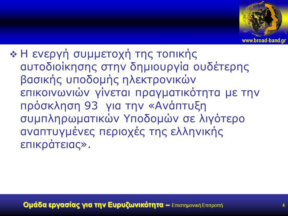 www.broad-band.gr Ομάδα εργασίας για την Ευρυζωνικότητα – Ομάδα εργασίας για την Ευρυζωνικότητα – Επιστημονική Επιτροπή4  Η ενεργή συμμετοχή της τοπικής αυτοδιοίκησης στην δημιουργία ουδέτερης βασικής υποδομής ηλεκτρονικών επικοινωνιών γίνεται πραγματικότητα με την πρόσκληση 93 για την «Ανάπτυξη συμπληρωματικών Υποδομών σε λιγότερο αναπτυγμένες περιοχές της ελληνικής επικράτειας».