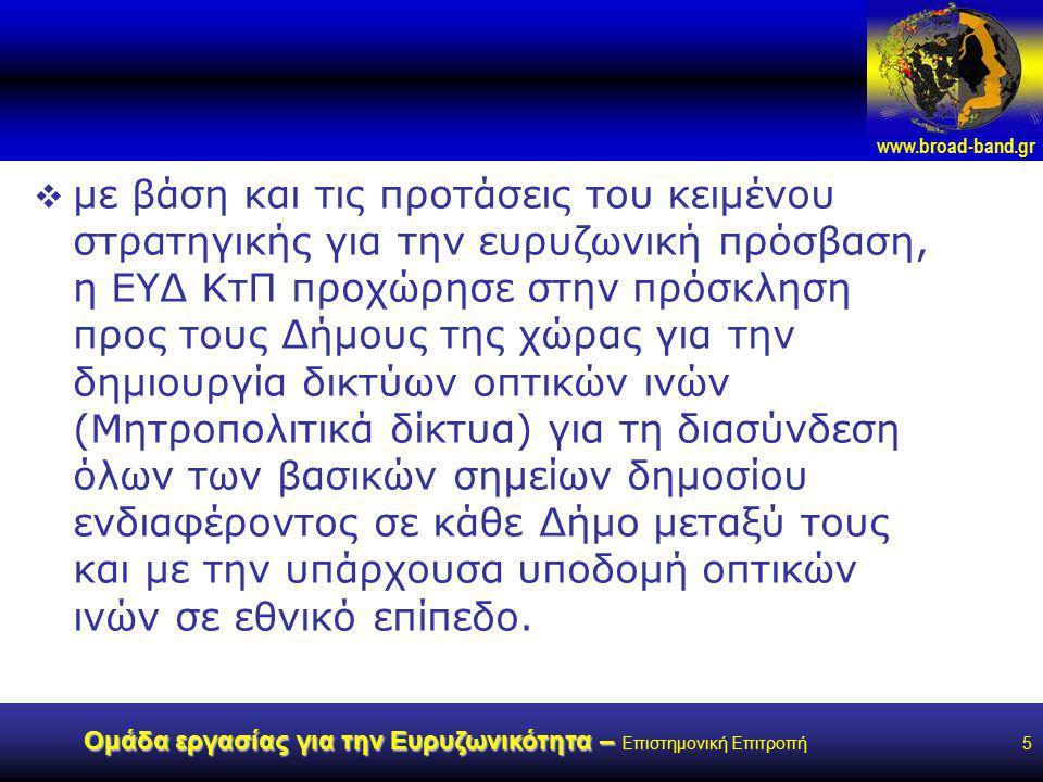 www.broad-band.gr Ομάδα εργασίας για την Ευρυζωνικότητα – Ομάδα εργασίας για την Ευρυζωνικότητα – Επιστημονική Επιτροπή5  με βάση και τις προτάσεις του κειμένου στρατηγικής για την ευρυζωνική πρόσβαση, η ΕΥΔ ΚτΠ προχώρησε στην πρόσκληση προς τους Δήμους της χώρας για την δημιουργία δικτύων οπτικών ινών (Μητροπολιτικά δίκτυα) για τη διασύνδεση όλων των βασικών σημείων δημοσίου ενδιαφέροντος σε κάθε Δήμο μεταξύ τους και με την υπάρχουσα υποδομή οπτικών ινών σε εθνικό επίπεδο.