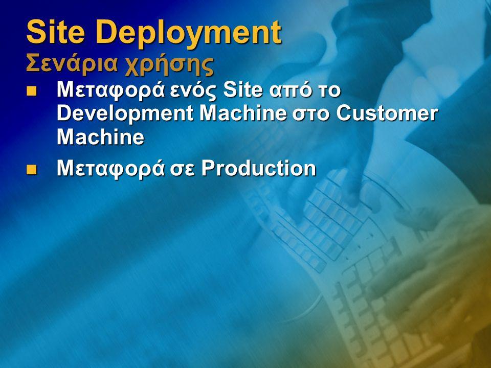 Site Deployment Σενάρια χρήσης Μεταφορά ενός Site από το Development Machine στο Customer Machine Μεταφορά ενός Site από το Development Machine στο Customer Machine Μεταφορά σε Production Μεταφορά σε Production