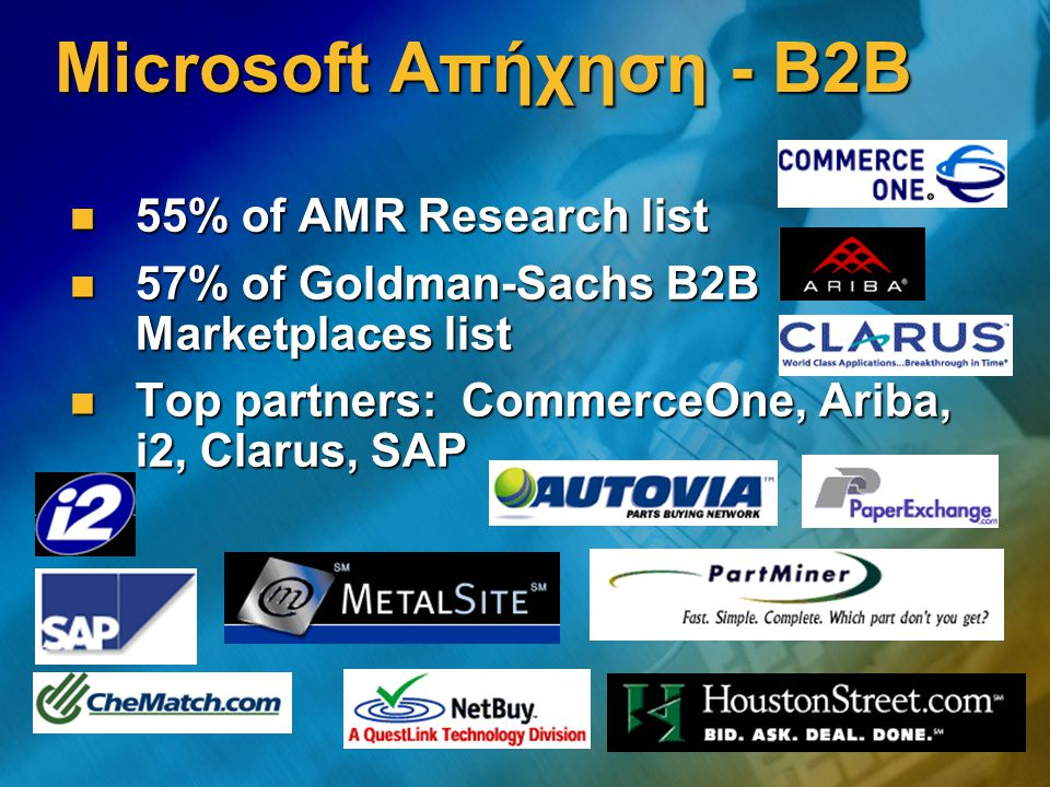 Microsoft Απήχηση - B2B 55% of AMR Research list 55% of AMR Research list 57% of Goldman-Sachs B2B Marketplaces list 57% of Goldman-Sachs B2B Marketplaces list Top partners: CommerceOne, Ariba, i2, Clarus, SAP Top partners: CommerceOne, Ariba, i2, Clarus, SAP