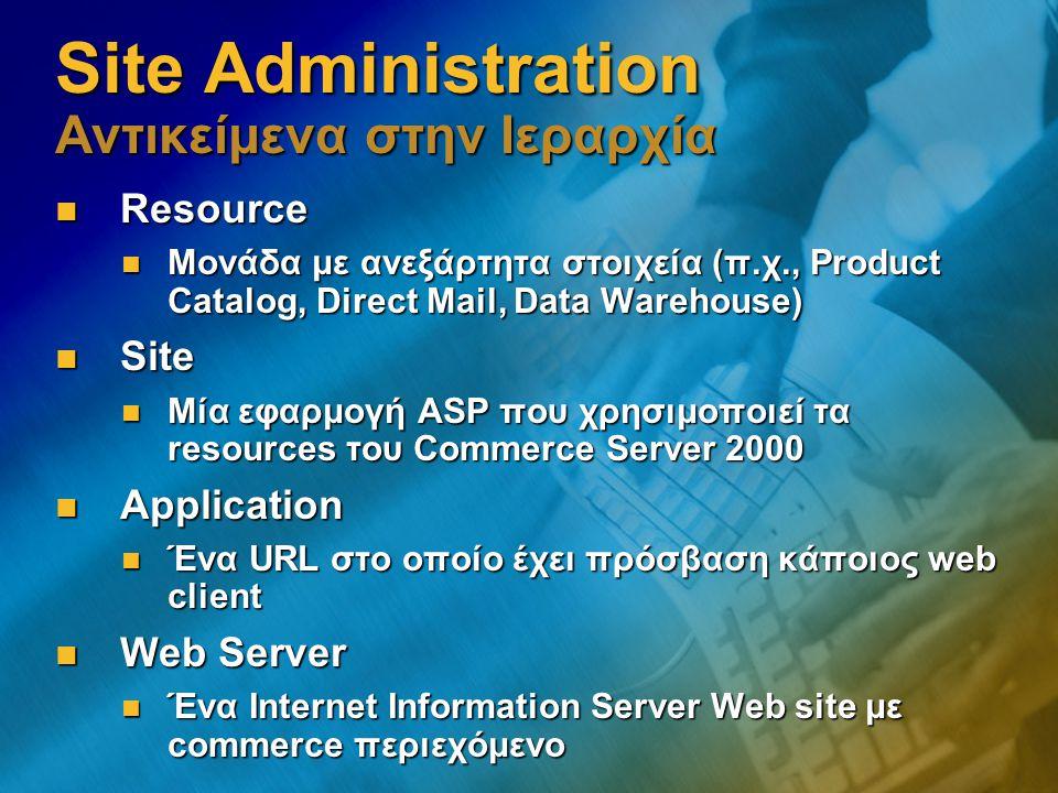 Site Administration Αντικείμενα στην Ιεραρχία Resource Resource Μονάδα με ανεξάρτητα στοιχεία (π.χ., Product Catalog, Direct Mail, Data Warehouse) Μον