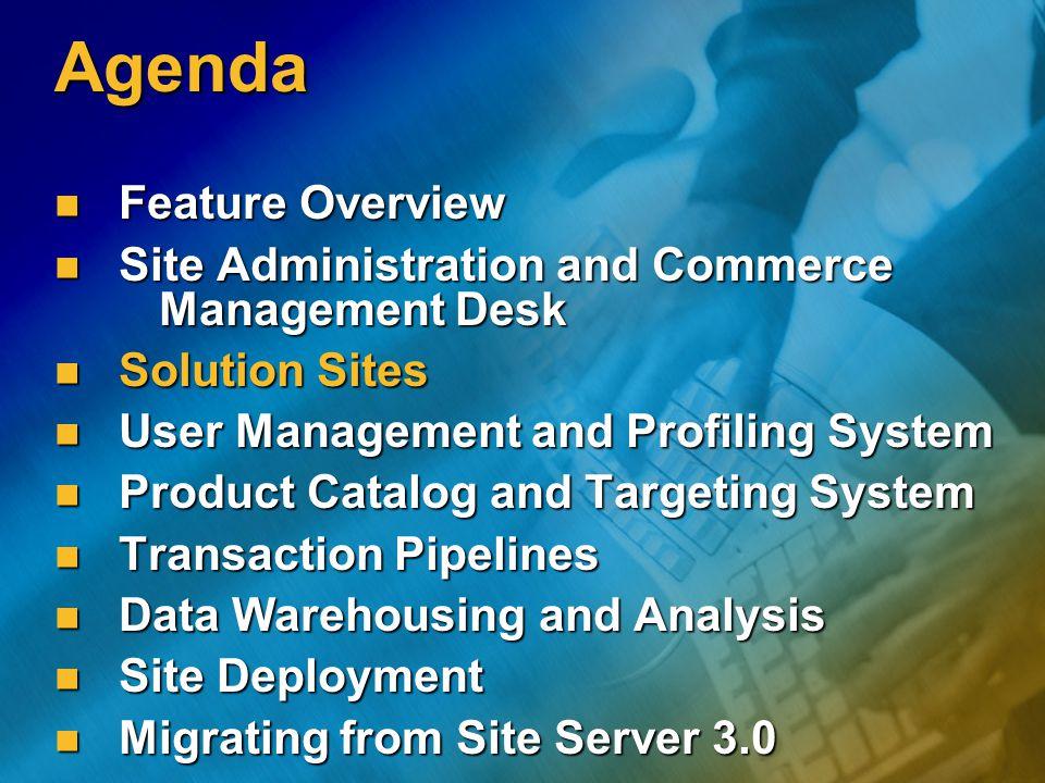Solution Sites Χαρακτηριστικά Εφαρμογές που παρουσιάζουν τις δυνατότητες – χαρακτηριστικά του Commerce Server 2000 Εφαρμογές που παρουσιάζουν τις δυνατότητες – χαρακτηριστικά του Commerce Server 2000 Γρήγορη ανάπτυξη λύσεων E-Business Γρήγορη ανάπτυξη λύσεων E-Business Παραδείγματα κώδικα για τον Commerce Server 2000 Παραδείγματα κώδικα για τον Commerce Server 2000 Τρία Solution Sites Τρία Solution Sites Blank Site Blank Site Retail Retail Supplier Supplier