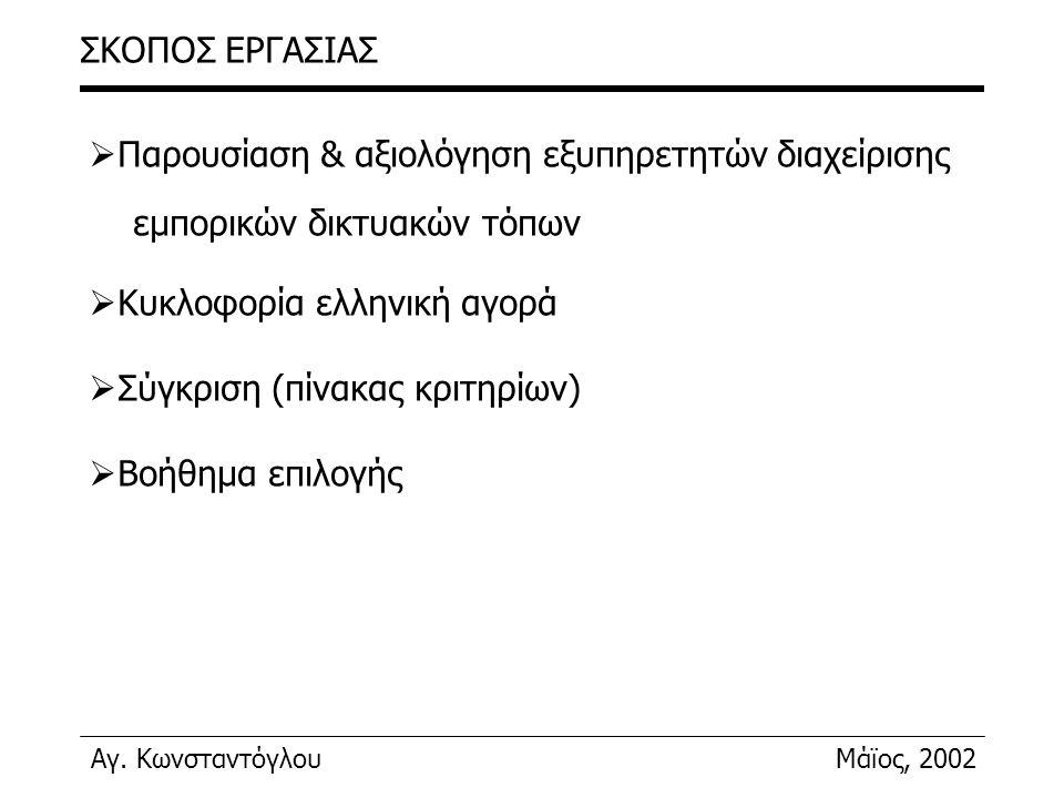Αγ. ΚωνσταντόγλουΜάϊος, 2002 ΣΚΟΠΟΣ ΕΡΓΑΣΙΑΣ  Παρουσίαση & αξιολόγηση εξυπηρετητών διαχείρισης εμπορικών δικτυακών τόπων  Κυκλοφορία ελληνική αγορά