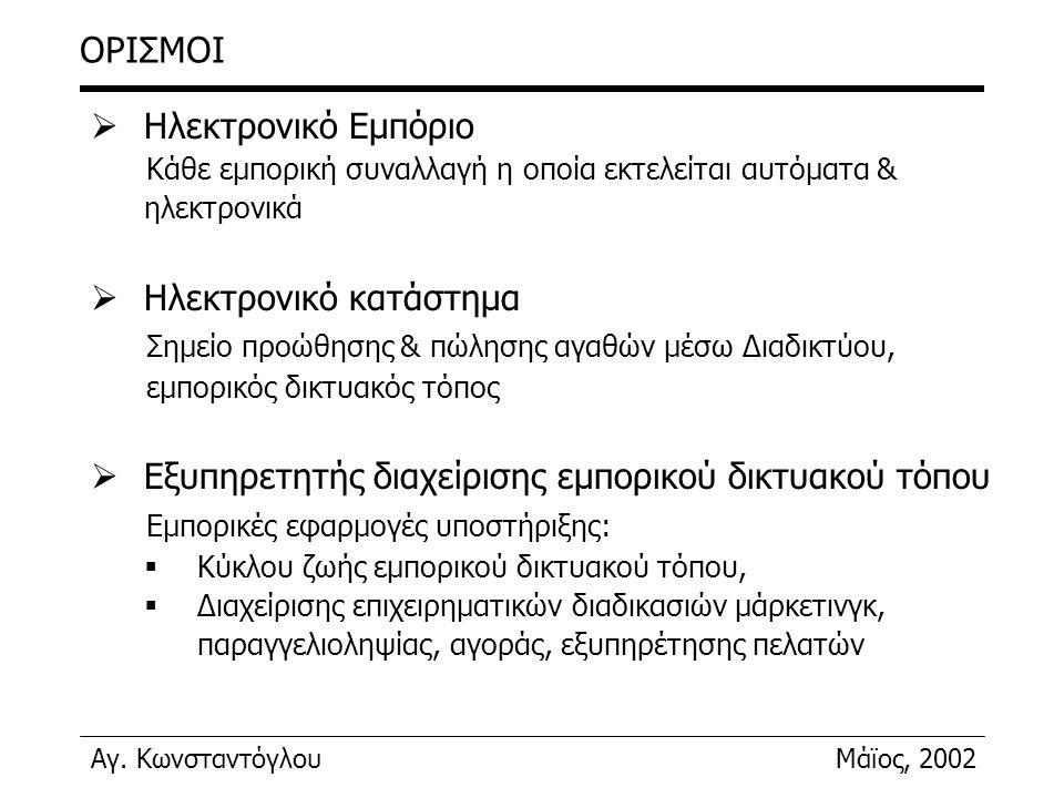 Αγ. ΚωνσταντόγλουΜάϊος, 2002 ΟΡΙΣΜΟΙ  Ηλεκτρονικό Εμπόριο Κάθε εμπορική συναλλαγή η οποία εκτελείται αυτόματα & ηλεκτρονικά  Ηλεκτρονικό κατάστημα Σ