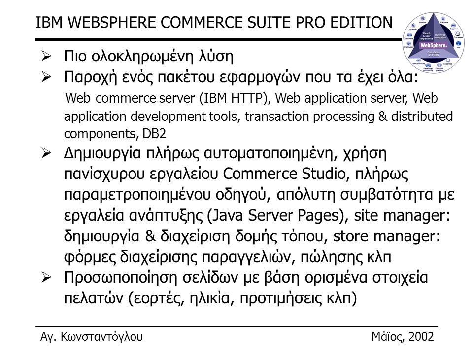 Αγ. ΚωνσταντόγλουΜάϊος, 2002 IBM WEBSPHERE COMMERCE SUITE PRO EDITION  Πιο ολοκληρωμένη λύση  Παροχή ενός πακέτου εφαρμογών που τα έχει όλα: Web com