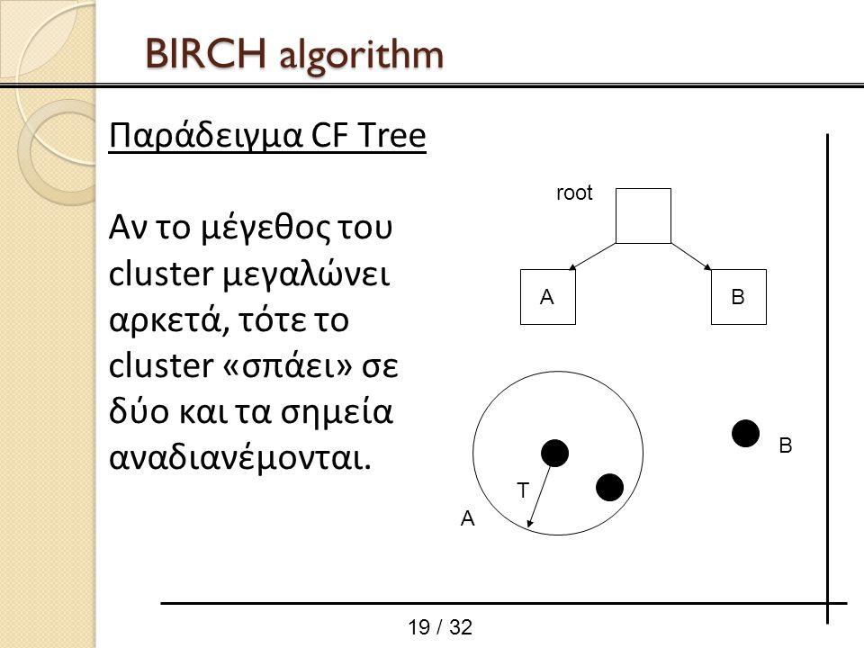 root A T B AB 19 / 32 BIRCH algorithm Παράδειγμα CF Тree Αν το μέγεθος του cluster μεγαλώνει αρκετά, τότε το cluster «σπάει» σε δύο και τα σημεία αναδ