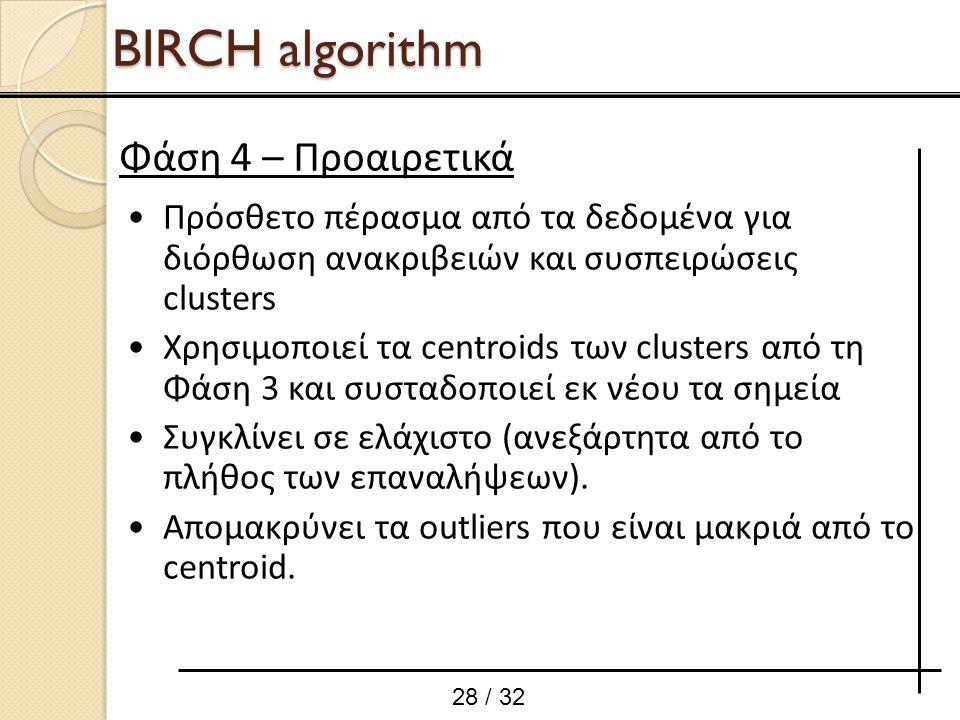 Πρόσθετο πέρασμα από τα δεδομένα για διόρθωση ανακριβειών και συσπειρώσεις clusters Χρησιμοποιεί τα centroids των clusters από τη Φάση 3 και συσταδοπο