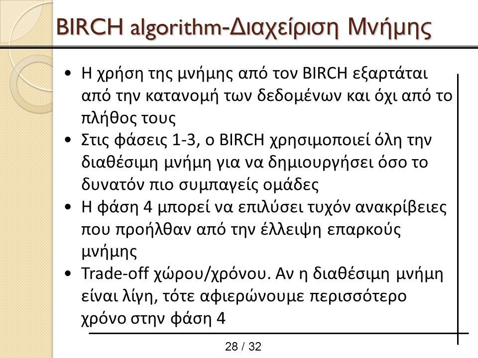 Η χρήση της μνήμης από τον BIRCH εξαρτάται από την κατανομή των δεδομένων και όχι από το πλήθος τους Στις φάσεις 1-3, ο BIRCH χρησιμοποιεί όλη την δια