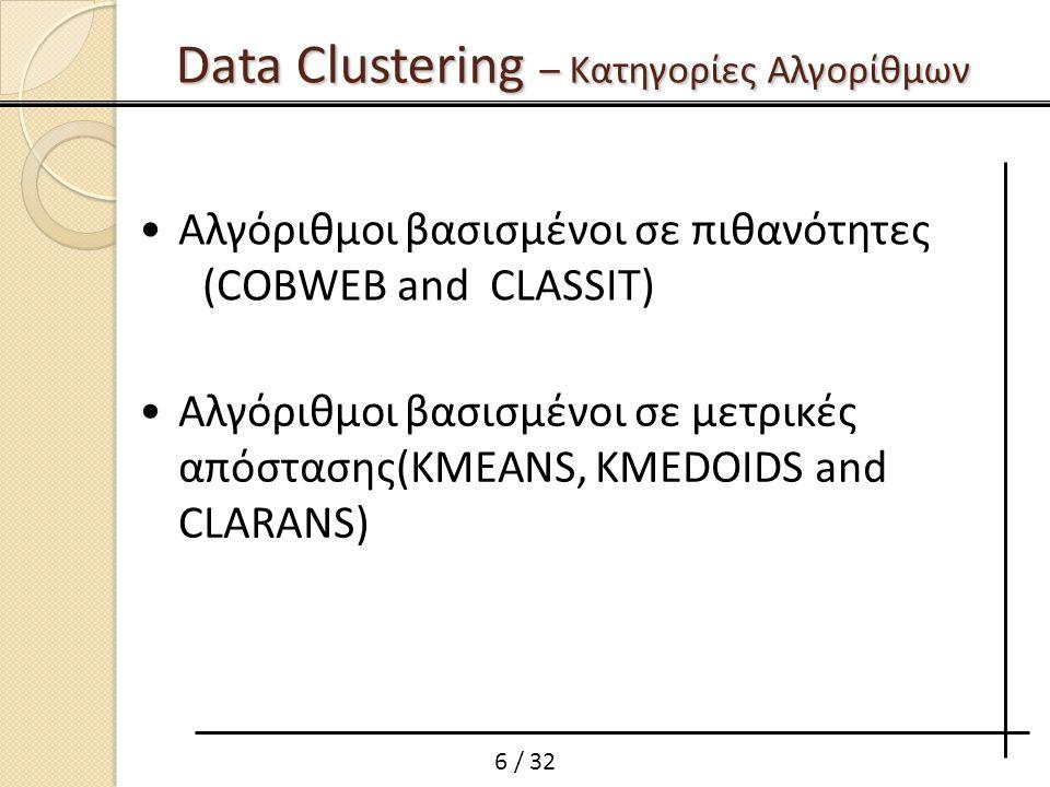 6 / 32 Αλγόριθμοι βασισμένοι σε πιθανότητες (COBWEB and CLASSIT) Αλγόριθμοι βασισμένοι σε μετρικές απόστασης(KMEANS, KMEDOIDS and CLARANS) Data Cluste