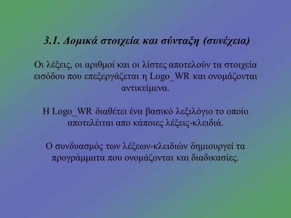 3. Ανάλυση της γλώσσας Logo Writer 3.1.