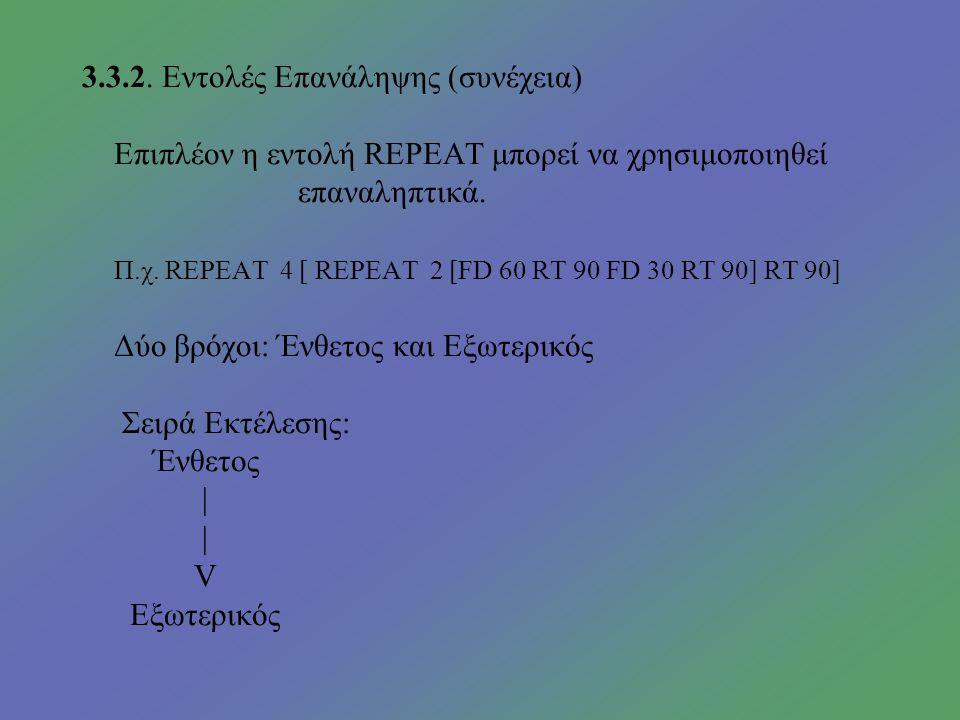3.3.2. Εντολές Επανάληψης Υποστηρίζει επαναληπτικές δομές όπως η REPEAT.