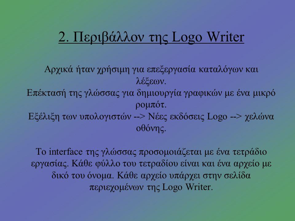 2.Περιβάλλον της Logo Writer Αρχικά ήταν χρήσιμη για επεξεργασία καταλόγων και λέξεων.