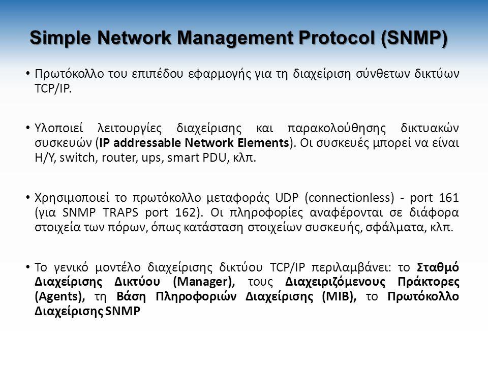 Simple Network Management Protocol (SNMP) Πρωτόκολλο του επιπέδου εφαρμογής για τη διαχείριση σύνθετων δικτύων TCP/IP. Υλοποιεί λειτουργίες διαχείριση