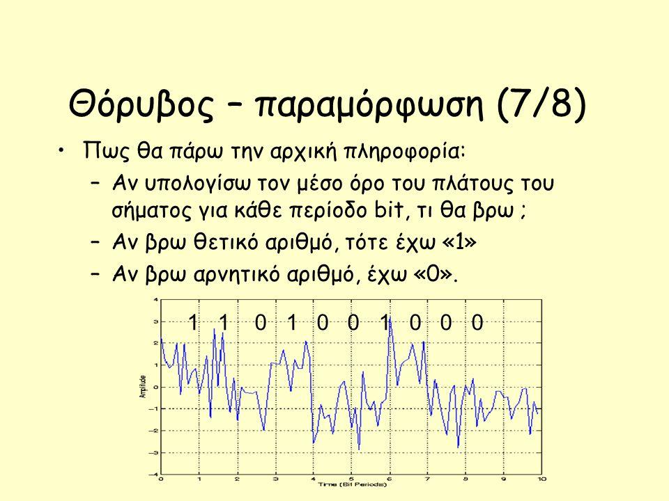 Θόρυβος – παραμόρφωση (7/8) Πως θα πάρω την αρχική πληροφορία: –Αν υπολογίσω τον μέσο όρο του πλάτους του σήματος για κάθε περίοδο bit, τι θα βρω ; –Αν βρω θετικό αριθμό, τότε έχω «1» –Αν βρω αρνητικό αριθμό, έχω «0».