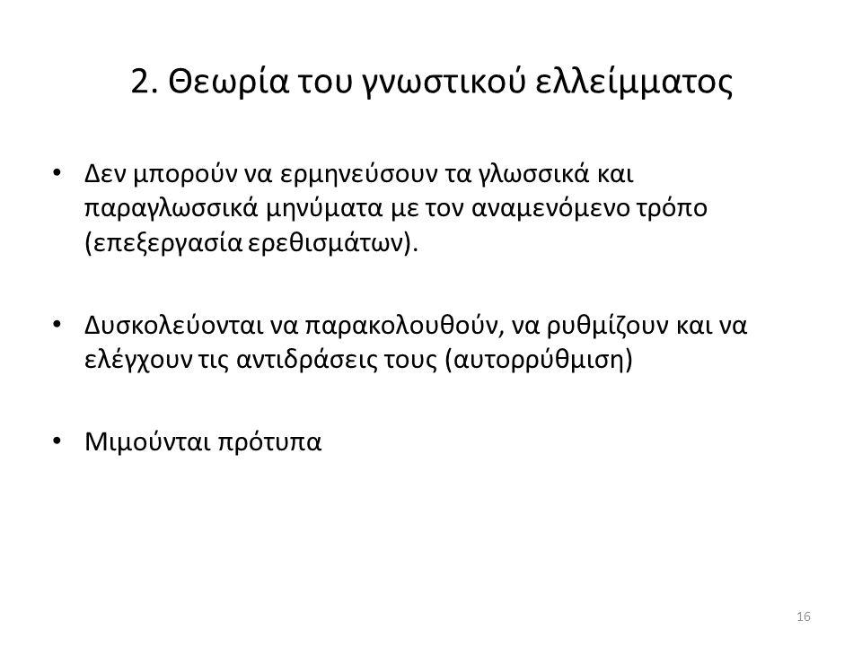 16 2. Θεωρία του γνωστικού ελλείμματος Δεν μπορούν να ερμηνεύσουν τα γλωσσικά και παραγλωσσικά μηνύματα με τον αναμενόμενο τρόπο (επεξεργασία ερεθισμά