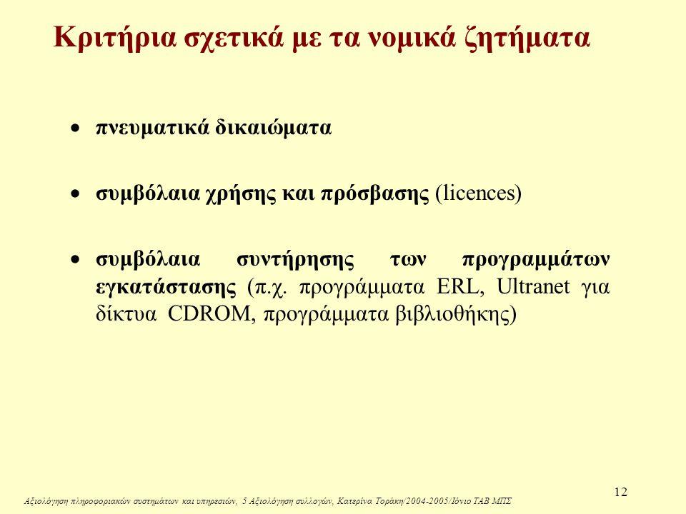 Αξιολόγηση πληροφοριακών συστημάτων και υπηρεσιών, 5 Αξιολόγηση συλλογών, Κατερίνα Τοράκη/2004-2005/Ιόνιο ΤΑΒ ΜΠΣ 12  πνευματικά δικαιώματα  συμβόλαια χρήσης και πρόσβασης (licences)  συμβόλαια συντήρησης των προγραμμάτων εγκατάστασης (π.χ.