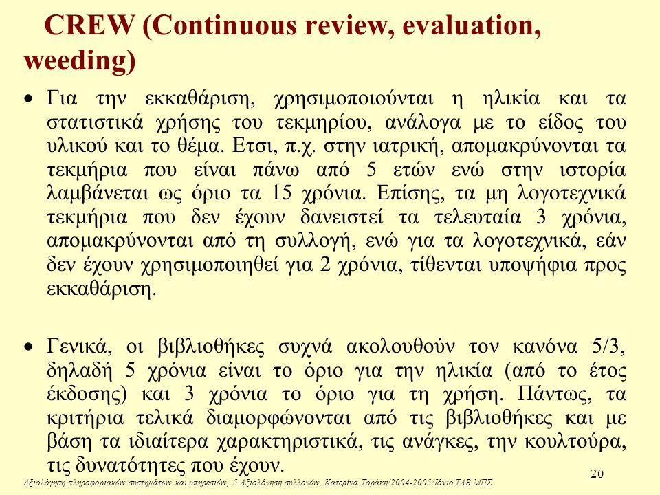 Αξιολόγηση πληροφοριακών συστημάτων και υπηρεσιών, 5 Αξιολόγηση συλλογών, Κατερίνα Τοράκη/2004-2005/Ιόνιο ΤΑΒ ΜΠΣ 20 CREW (Continuous review, evaluation, weeding)  Για την εκκαθάριση, χρησιμοποιούνται η ηλικία και τα στατιστικά χρήσης του τεκμηρίου, ανάλογα με το είδος του υλικού και το θέμα.