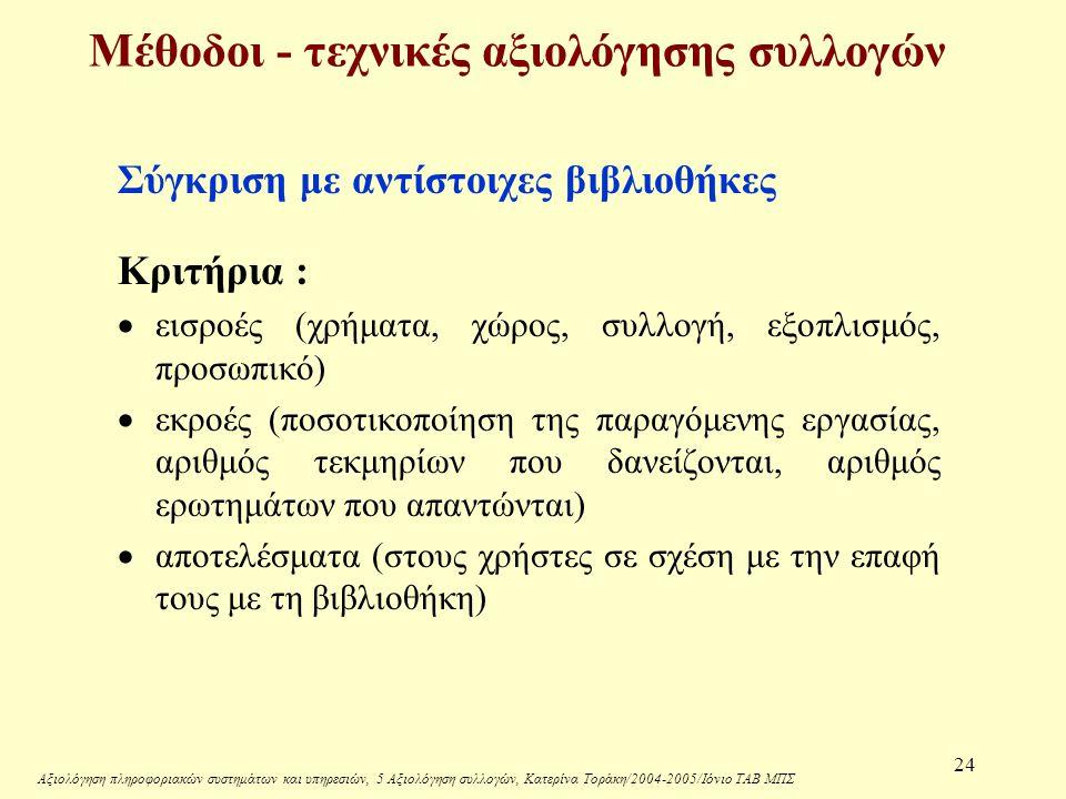 Αξιολόγηση πληροφοριακών συστημάτων και υπηρεσιών, 5 Αξιολόγηση συλλογών, Κατερίνα Τοράκη/2004-2005/Ιόνιο ΤΑΒ ΜΠΣ 24 Μέθοδοι - τεχνικές αξιολόγησης συλλογών Σύγκριση με αντίστοιχες βιβλιοθήκες Κριτήρια :  εισροές (χρήματα, χώρος, συλλογή, εξοπλισμός, προσωπικό)  εκροές (ποσοτικοποίηση της παραγόμενης εργασίας, αριθμός τεκμηρίων που δανείζονται, αριθμός ερωτημάτων που απαντώνται)  αποτελέσματα (στους χρήστες σε σχέση με την επαφή τους με τη βιβλιοθήκη)