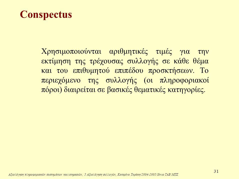 Αξιολόγηση πληροφοριακών συστημάτων και υπηρεσιών, 5 Αξιολόγηση συλλογών, Κατερίνα Τοράκη/2004-2005/Ιόνιο ΤΑΒ ΜΠΣ 31 Conspectus Χρησιμοποιούνται αριθμητικές τιμές για την εκτίμηση της τρέχουσας συλλογής σε κάθε θέμα και του επιθυμητού επιπέδου προσκτήσεων.