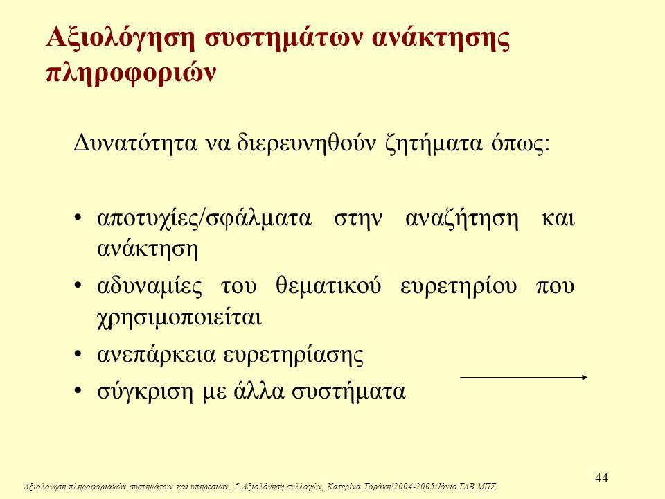 Αξιολόγηση πληροφοριακών συστημάτων και υπηρεσιών, 5 Αξιολόγηση συλλογών, Κατερίνα Τοράκη/2004-2005/Ιόνιο ΤΑΒ ΜΠΣ 44 Αξιολόγηση συστημάτων ανάκτησης πληροφοριών Δυνατότητα να διερευνηθούν ζητήματα όπως: αποτυχίες/σφάλματα στην αναζήτηση και ανάκτηση αδυναμίες του θεματικού ευρετηρίου που χρησιμοποιείται ανεπάρκεια ευρετηρίασης σύγκριση με άλλα συστήματα