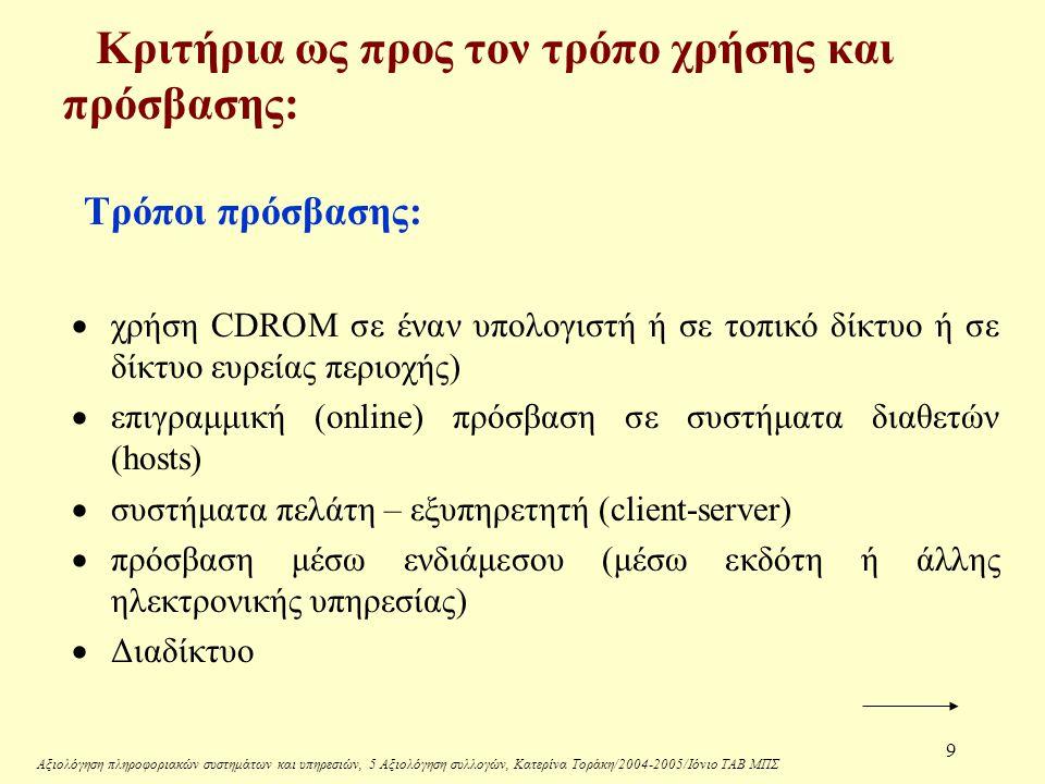 Αξιολόγηση πληροφοριακών συστημάτων και υπηρεσιών, 5 Αξιολόγηση συλλογών, Κατερίνα Τοράκη/2004-2005/Ιόνιο ΤΑΒ ΜΠΣ 9 Κριτήρια ως προς τον τρόπο χρήσης και πρόσβασης: Τρόποι πρόσβασης:  χρήση CDROM σε έναν υπολογιστή ή σε τοπικό δίκτυο ή σε δίκτυο ευρείας περιοχής)  επιγραμμική (online) πρόσβαση σε συστήματα διαθετών (hosts)  συστήματα πελάτη – εξυπηρετητή (client-server)  πρόσβαση μέσω ενδιάμεσου (μέσω εκδότη ή άλλης ηλεκτρονικής υπηρεσίας)  Διαδίκτυο