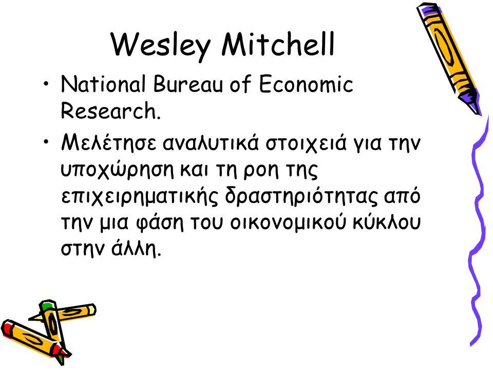 Wesley Mitchell National Bureau of Economic Research. Μελέτησε αναλυτικά στοιχειά για την υποχώρηση και τη ροη της επιχειρηματικής δραστηριότητας από