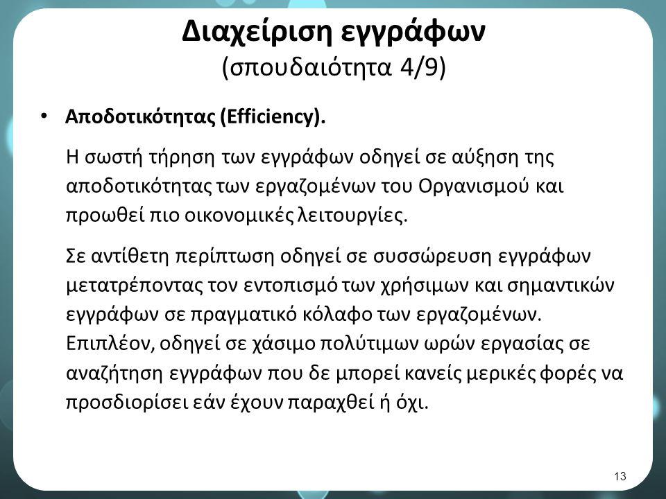 Διαχείριση εγγράφων (σπουδαιότητα 4/9) Αποδοτικότητας (Efficiency).