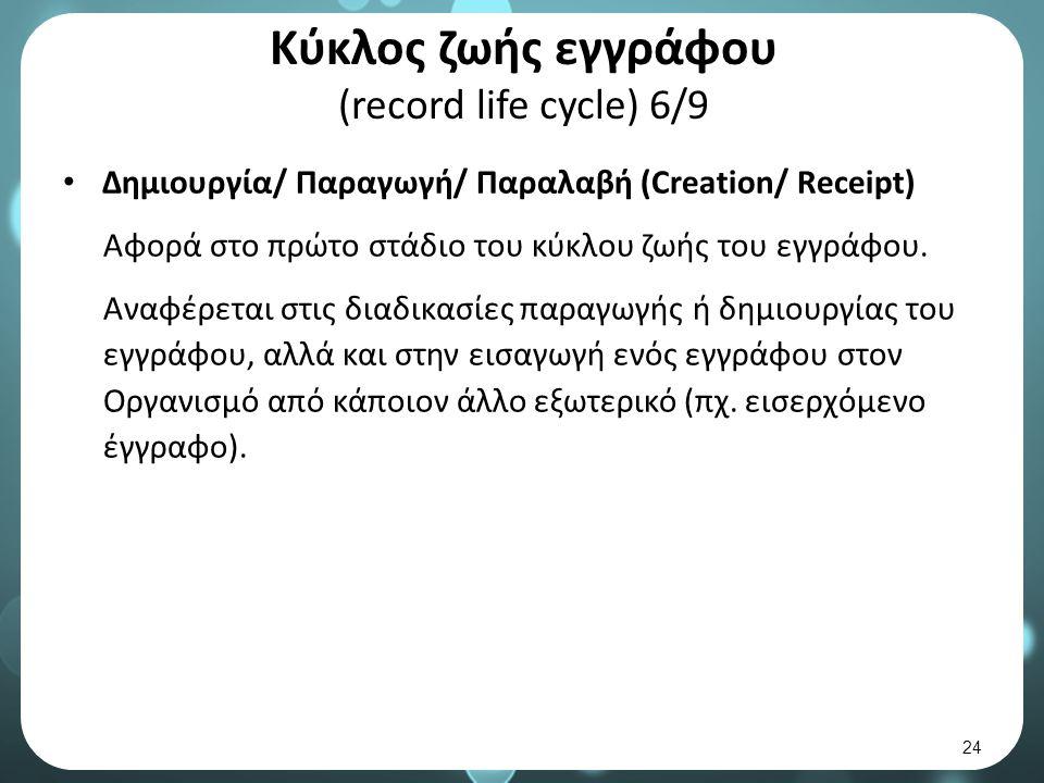 Κύκλος ζωής εγγράφου (record life cycle) 6/9 Δημιουργία/ Παραγωγή/ Παραλαβή (Creation/ Receipt) Αφορά στο πρώτο στάδιο του κύκλου ζωής του εγγράφου.