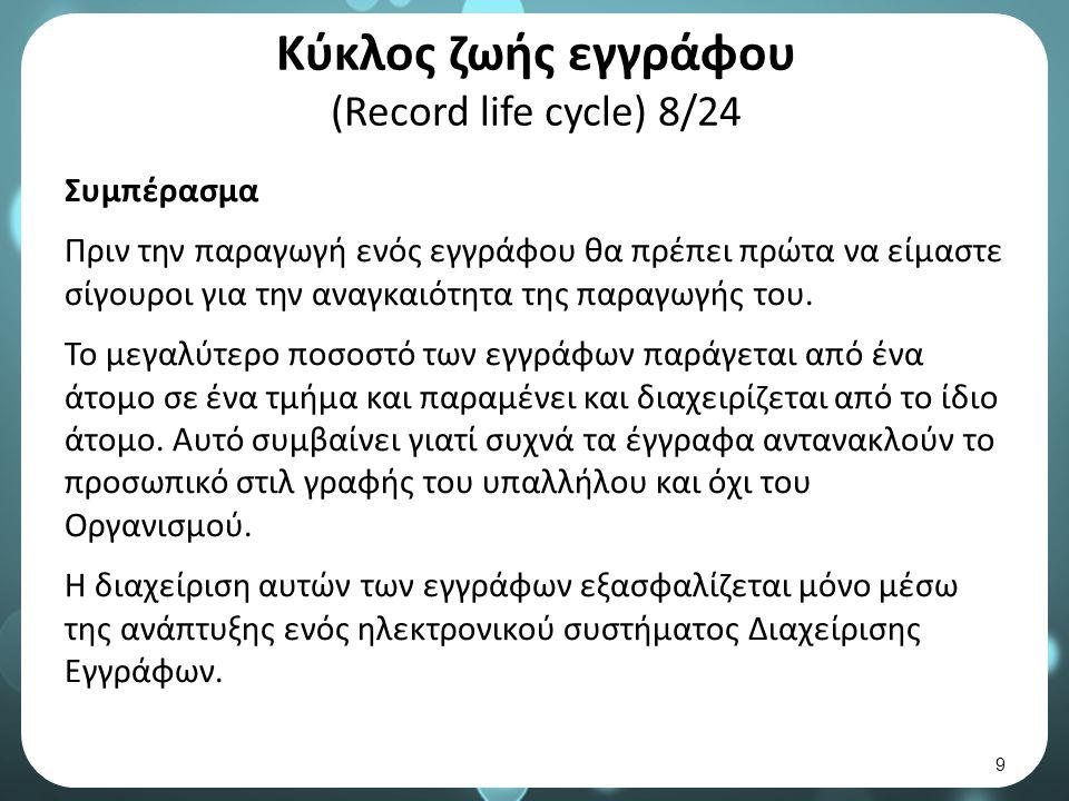 Κύκλος ζωής εγγράφου (Record life cycle) 8/24 Συμπέρασμα Πριν την παραγωγή ενός εγγράφου θα πρέπει πρώτα να είμαστε σίγουροι για την αναγκαιότητα της παραγωγής του.