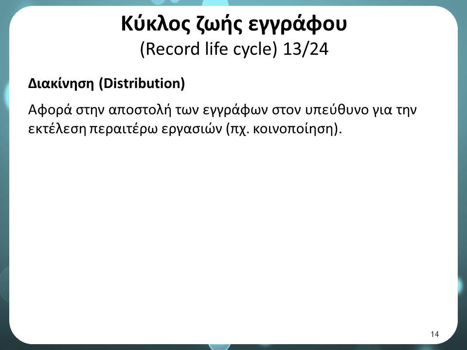Κύκλος ζωής εγγράφου (Record life cycle) 13/24 Διακίνηση (Distribution) Αφορά στην αποστολή των εγγράφων στον υπεύθυνο για την εκτέλεση περαιτέρω εργασιών (πχ.