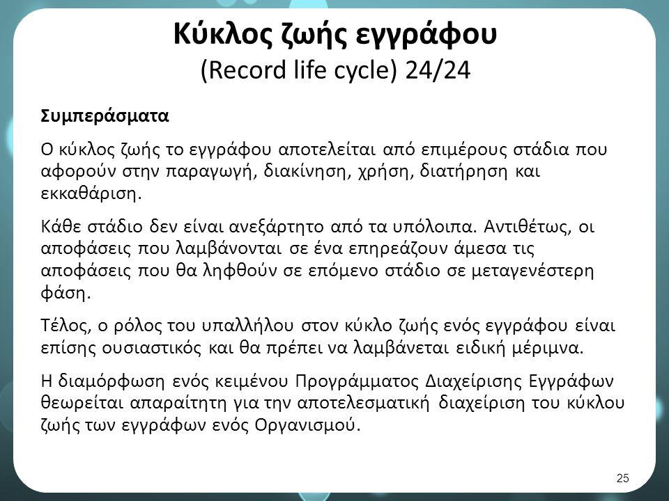 Κύκλος ζωής εγγράφου (Record life cycle) 24/24 Συμπεράσματα Ο κύκλος ζωής το εγγράφου αποτελείται από επιμέρους στάδια που αφορούν στην παραγωγή, διακίνηση, χρήση, διατήρηση και εκκαθάριση.