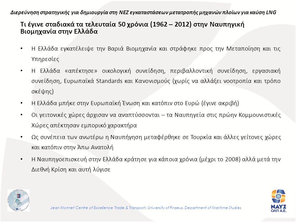 Τι έγινε σταδιακά τα τελευταία 50 χρόνια (1962 – 2012) στην Ναυπηγική Βιομηχανία στην Ελλάδα Η Ελλάδα εγκατέλειψε την Βαριά Βιομηχανία και στράφηκε προς την Μεταποίηση και τις Υπηρεσίες Η Ελλάδα «απέκτησε» οικολογική συνείδηση, περιβαλλοντική συνείδηση, εργασιακή συνείδηση, Ευρωπαϊκά Standards και Κανονισμούς (χωρίς να αλλάξει νοοτροπία και τρόπο σκέψης) Η Ελλάδα μπήκε στην Ευρωπαϊκή Ένωση και κατόπιν στο Ευρώ (έγινε ακριβή) Οι γειτονικές χώρες άρχισαν να αναπτύσσονται – τα Ναυπηγεία στις πρώην Κομμουνιστικές Χώρες απέκτησαν εμπορικό χαρακτήρα Ως συνέπεια των ανωτέρω η Ναυπήγηση μεταφέρθηκε σε Τουρκία και άλλες γείτονες χώρες και κατόπιν στην Άπω Ανατολή Η Ναυπηγοεπισκευή στην Ελλάδα κράτησε για κάποια χρόνια (μέχρι το 2008) αλλά μετά την Διεθνή Κρίση και αυτή λύγισε Jean Monnet Centre of Excellence Trade & Transport, University of Piraeus, Department of Maritime Studies Διερεύνηση στρατηγικής για δημιουργία στη ΝΕΖ εγκαταστάσεων μετατροπής μηχανών πλοίων για καύση LNG
