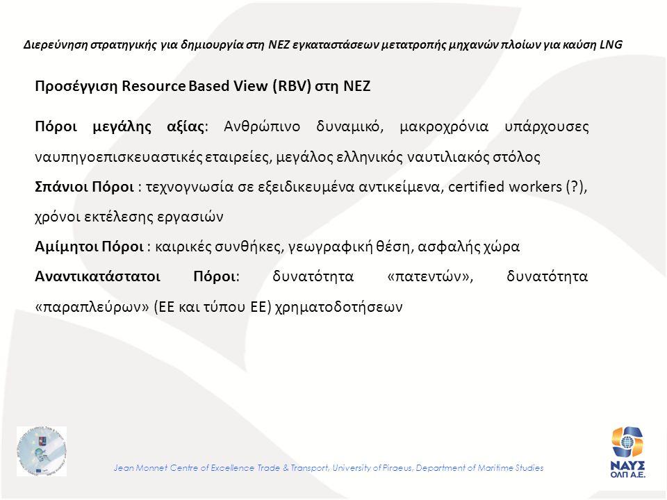 Jean Monnet Centre of Excellence Trade & Transport, University of Piraeus, Department of Maritime Studies Πόροι μεγάλης αξίας: Ανθρώπινο δυναμικό, μακροχρόνια υπάρχουσες ναυπηγοεπισκευαστικές εταιρείες, μεγάλος ελληνικός ναυτιλιακός στόλος Σπάνιοι Πόροι : τεχνογνωσία σε εξειδικευμένα αντικείμενα, certified workers ( ), χρόνοι εκτέλεσης εργασιών Αμίμητοι Πόροι : καιρικές συνθήκες, γεωγραφική θέση, ασφαλής χώρα Αναντικατάστατοι Πόροι: δυνατότητα «πατεντών», δυνατότητα «παραπλεύρων» (ΕΕ και τύπου ΕΕ) χρηματοδοτήσεων Διερεύνηση στρατηγικής για δημιουργία στη ΝΕΖ εγκαταστάσεων μετατροπής μηχανών πλοίων για καύση LNG Προσέγγιση Resource Based View (RBV) στη ΝΕΖ