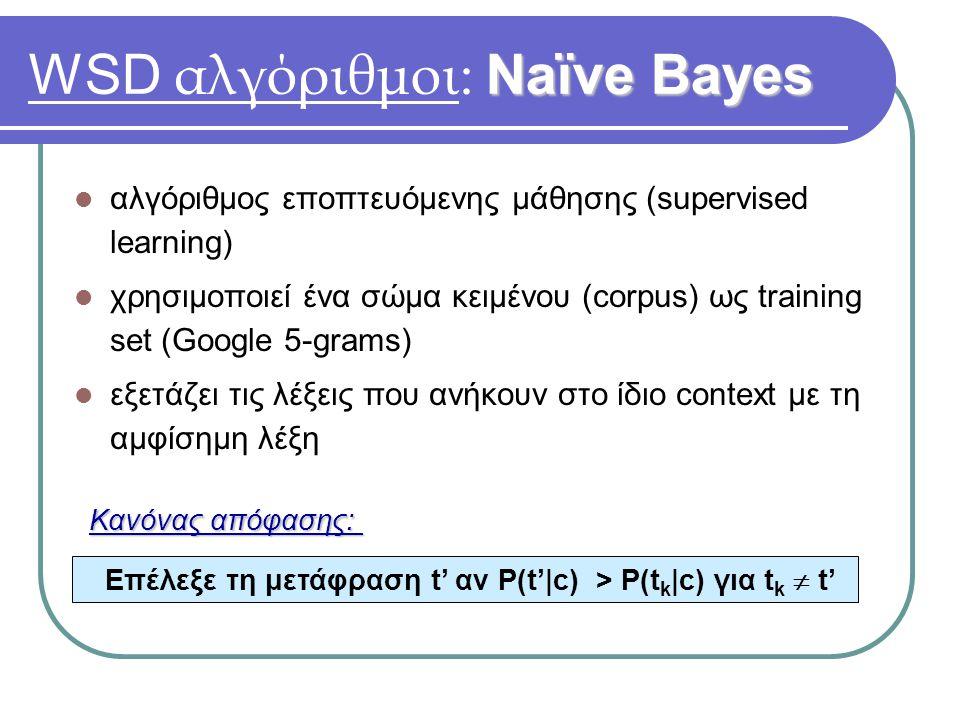 Naïve Bayes WSD αλγόριθμοι: Naïve Bayes αλγόριθμος εποπτευόμενης μάθησης (supervised learning) χρησιμοποιεί ένα σώμα κειμένου (corpus) ως training set (Google 5-grams) εξετάζει τις λέξεις που ανήκουν στο ίδιο context με τη αμφίσημη λέξη Επέλεξε τη μετάφραση t' αν P(t'|c) > P(t k |c) για t k  t' Κανόνας απόφασης: